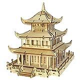 ZUJI Puzzle 3D en Bois Jue de Construction DIY Modèle de Architecture Ancienne Jigsaw Puzzle pour Enfants et Adultes (Tour de Yueyang)