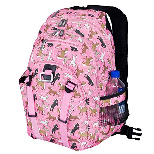 Wildkin Kids Serious Backpack for Boys and Girls, Perfect Size for Elementary, Middle, and Junior High School, 600 Denier Polyester Fabric Backpacks Measures 18 x 13.5 x 8 Inches (Horses in Pink)