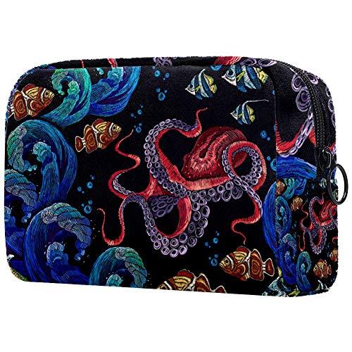 Trousse de toilette portable pour femme avec broderie, sac à main, sac à main, cosmétique, voyage organiseur de broderie, poulpe vague de mer