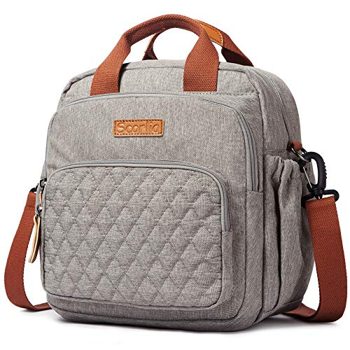 SCORLIA Insulated Lunch Bag Thermal Backpack, 3 in 1 Convertible Lunch Tote with Side pockets for Women, Tall lunch Cooler Box with Drinks Holder for Girls, Kids, School, Office, Beach, Picnic, Grey