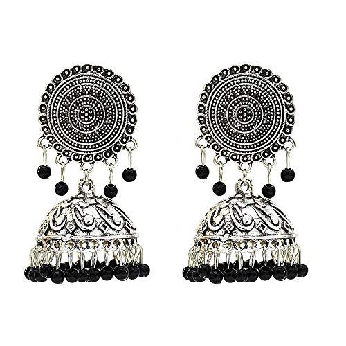 Nueva joyería europea y americana pendientes de borla de aleación exagerada retro para mujer pendientes largos de cuentas de estilo étnico-negro