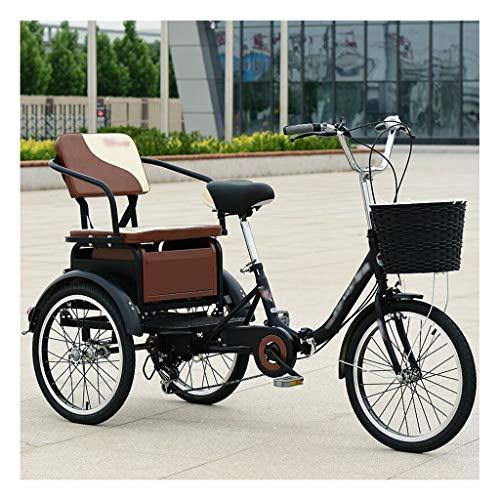 LICHUXIN Plegable Adulto Bicicleta Pedal Ciclismo 20 Pulgadas Triciclo Bicicleta con Asiento Respaldo y Cesta Grande para Compras Deportivas Al Aire Libre (Color : Black)