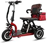 Compact Electric Tricycle Adult Elderly Mini Folding Electric Tricycle Electric Wheelchair Elderly People with Brushless Motor Scooter Lithium Battery Illuminated Assisted Wheelchair [Upgrade]