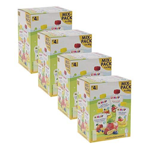 HiPP Quetschbeutel für Babys, Mixpack, 100% Bio-Früchte ohne Zuckerzusatz, 4 x 4 Beutel à 90 g