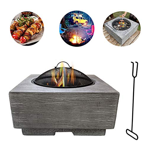 Buy WSCQ Fire Pit with BBQ Grill Shelf, Firepit Garden Patio Heater/BBQ/Ice Pit Fashionable and Artistic Magnesium Oxide Base Used for Outdoor Garden Barbecue (Fireproof Material)