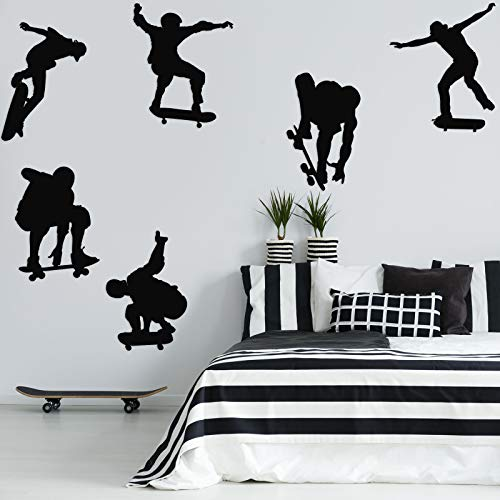 6 Pieces Playing Skateboards Sports Wall Decal Skateboard Wall Decals Home Sticker House Decoration Wallpaper for Living Room Bedroom Kitchen Art Picture DIY for Kids Teen Senior Adult Nursery Baby