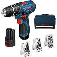 Bosch Professional GSB 12V-15 Taladro percutor, 2 baterías x 2.0 Ah, 39 Accesorios, en maletín, Edición Amazon, 36 W, 12 V, Azul