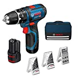 Bosch Professional 12V System GSB 12V-15 - Taladro percutor a batería (30 Nm, 1300 rpm, 2 baterías x 2.0 Ah, set 39 accesorios, en maletín de lona) - Amazon Edition [Exclusiva Amazon]