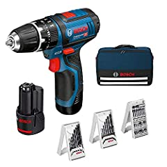 Bosch Professional 12V System Battery Impact Drill Screwdriver GSB 12V-15 (Borend hout max: 19 mm, incl. 2x2.0 Ah batterij + lader, 3x boorset, in zak) – Amazon Edition*
