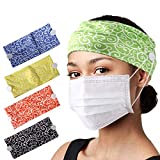 CGTL Fashion Button Wide Women Headbands 2 Pack Sports Outdoor Floal Hair Bands Cotton Stretchy Daily Use Yoga Hair Accessories for Women and Girls Green Blue
