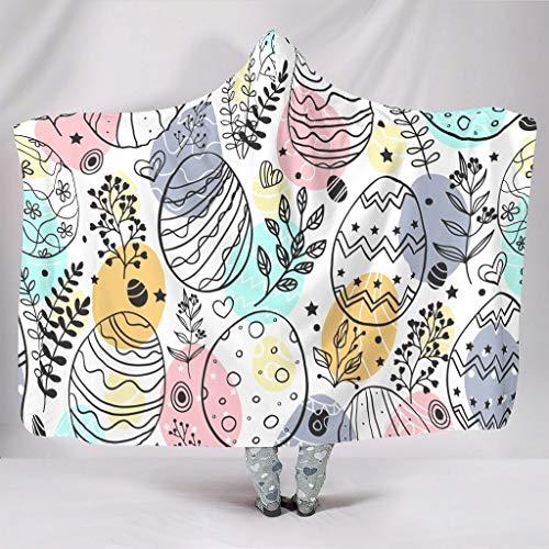 AXGM Manta con capucha para niños y niñas, diseño de Pascua, plantas y huevos, para invierno, sofá, color blanco, 150 x 200 cm