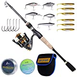 Dr.Fish Fishing Rod and Reel Combo, 5.9ft Carbon Fiber Telescopic Rod, 9+1BBs Spinning Reel, Cork Handle Lightweight...
