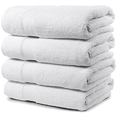 4 Piece Bath Towel Set. 2017(New Collection).Premium Quality Turkish Towels. Super Soft, Plush and Highly Absorbent. Set Includes 4 Pieces of Bath Towels. By Maura. (Bath Towel - Set of 4, White)