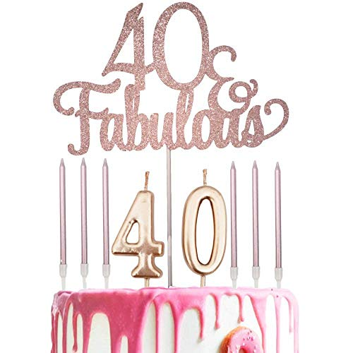 Rose Gold Glittery 40 Fabulous Cake Topper with Number 40 Candles and 6pcs Candles for 40th Birthday Party Decorations, Birthday Cake Topper Decor