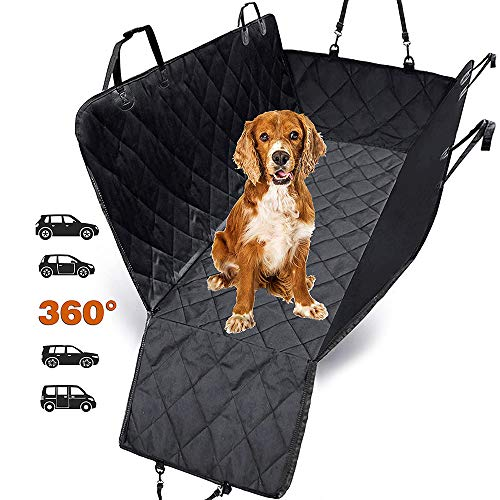HM514 Dog Car Seat Cover for Dogs, Waterproof with Door Protection, Durable Nonslip Scratch Proof Washable Pet Back Seat Cover. 3-in-1 Car Seat Protector, Boot Liner, Dog Travel Hammock for all Cars