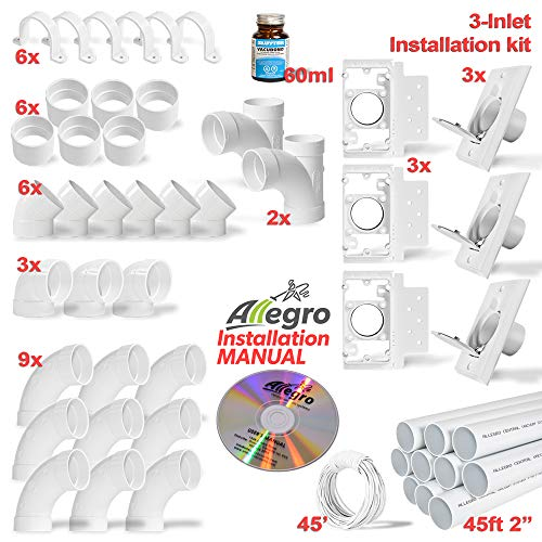 Central Vacuum 3 Inlet Installation Kit with 48ft of PVC pipe, includes all fittings and low voltage wire