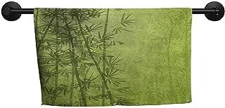 xixiBO Sports Towel W 28 x L 14(inch) Bathroom Towel Set,Exotic,Tropical Forest Rainforest Jungle Paradise Ecology Feng Shui Spa,Pistachio Green Fern Green