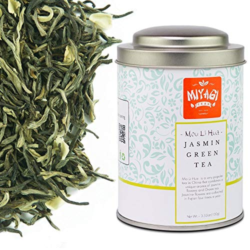 MIYAGI TEA - Mou Li Hua Premium Jasmine Tea - Loose Leaf Green Tea - 3.52oz (100g) / tin can