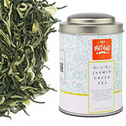 Miyagi Tea - Premium Mou Li Hua Tè Verde Cinese con fiori di Gelsomino - 3.52oz (100g) / barattolo