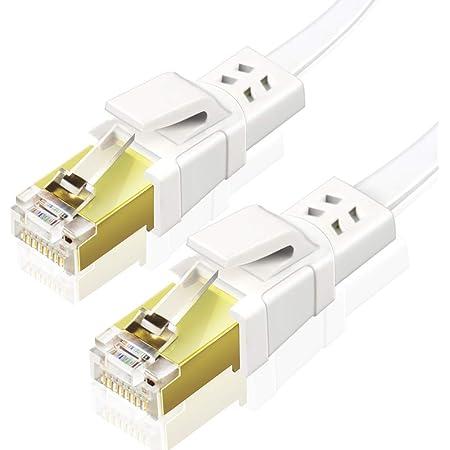 Ankuly CAT8 LANケーブル カテゴリー8 ウルトラフラットケーブル 40Gbps/2000MHz ランケーブル やわらか SFTPシールド イーサネットケーブル サーバー 企業様向け 業務用 屋外用 CAT8準拠 (5m-ホワイト)