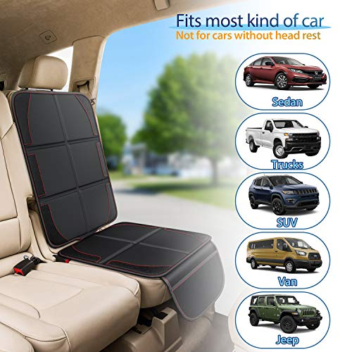 Gimars XL Thickest EPE Cushion Car Seat Protector Mat, Large Waterproof 600D Fabric Child Baby Seat Protector with Storage Pockets for SUV, Sedan, Truck, Leather and Fabric Car Seat, 2 Packs