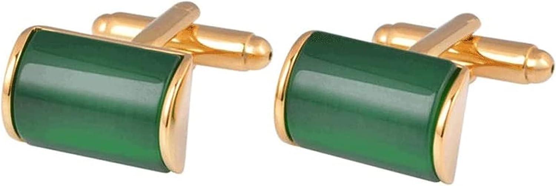 ZHANGQQ Men's Classic Cufflinks,Men's Cufflink Set Men's Cuffs, French Shirt Cufflinks, Emerald Green Opal Cuff Studs, Golden Cuffs