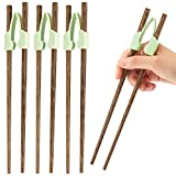3 Pieces Learning Chopstick Helpers Attachable Training Chopsticks Hinges Connector Reusable Plastic Training Chopstick Helper and 6 Pieces Wooden Chopsticks for Adults, Beginner, Trainer or Learner