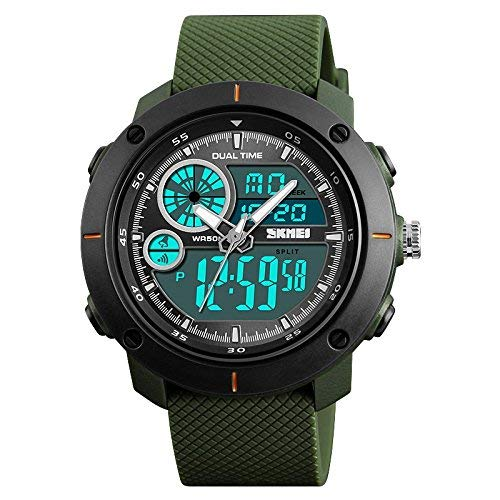 SKMEI Analogue Men's Watch (Black Dial Green Colored Strap)