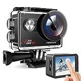 Campark Action Cam V30 Caméra sous-marine 4K 20 MP Wi-Fi compatible avec microphone externe, zoom 4x, EIS anti-shake 40 m, étanche à l'eau, kit d'accessoires pour caméra de sport, 2 batteries 1350 mAh