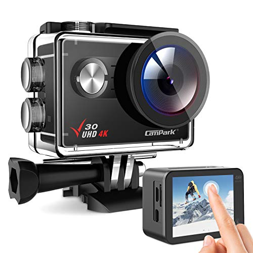 Campark Action Cam V30, 4 K 20 MP, fotocamera subacquea Wi-Fi, supporta microfono esterno, zoom 4x EIS Anti-Shake 40 m, impermeabile, kit accessori per fotocamera sportiva 2 batterie da 1350 mAh
