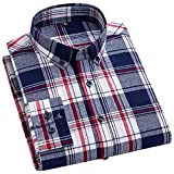 HDDFG Camisa de manga larga informal a cuadros de algodón 100% para hombre S-7XL Primavera Otoño Botón de tendencia Camisas delgadas absorbentes de sudor (Color : C, Size : 4XL code)