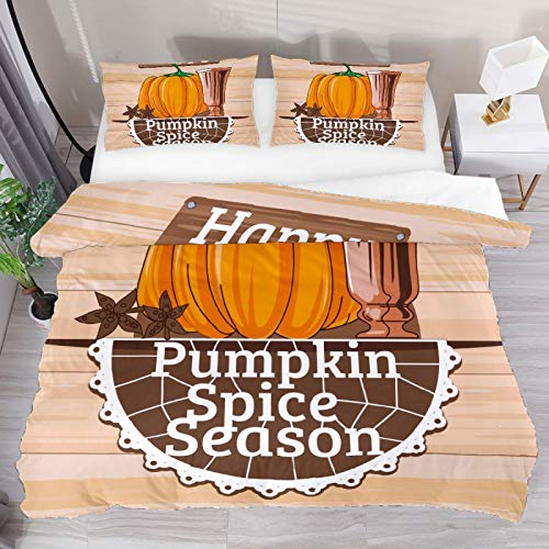 BOLIMAO 2 Pieces Happy Pumpkin Spice Season Duvet Cover Set Full Size 61'x87' Breathable Bedding Sets for Kids Children Girls Boys (No Comforter)