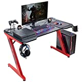 Flamaker Gaming Desk Gaming Table Computer Desk Gamer Table Z Shape Game Station with Large Carbon Fiber Surface, Cup Holder & Headphone