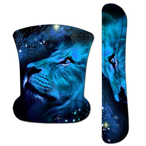 Mouse Pad with Wrist Support and Keyboard Wrist Rest Pad Set,Ergonomic Mouse Pads for Computers Laptop,Non-Slip Comfortable Mousepad w/Raised Memory Foam for Easy Typing & Pain Relief (Lion)