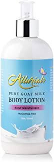 Pure Hydrating Goat Milk Lotion: Fragrance Free Body Moisturizer with Shea Butter, Coconut Milk, Honey and Argan Oil for Dry, Cracked and Sensitive Skin - Cruelty Free - 12 Ounce Bottle with Pump