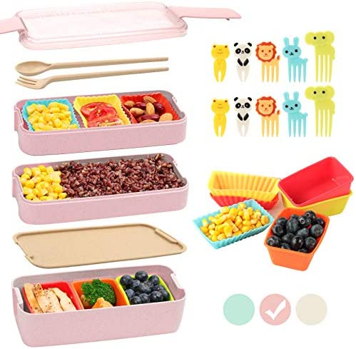 Bento Box for Kids with Silicone Cupcake Baking Cups Food Picks for Kids 3 In 1 Compartment product image