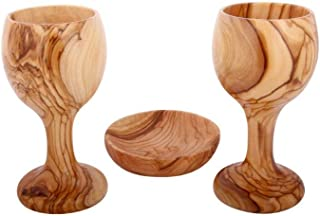 Communion Cups - The Lord's Supper - Two Olive Wood Wine Goblet - Chalice (6 Inches Large) with Olive Wood Bread Tray
