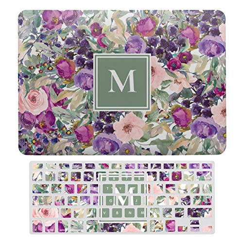 For MacBook Air 13 Case A1466、A1369, Plastic Hard Shell Case & Keyboard Cover Compatible with MacBook Air 13, Purple Pink Sage Green Boho Flowers Monogram Laptop Protective Shell Set