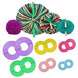 Curtzy Kit per Pom Pom Maker Plastica (6pz)- 6 Taglie Pon Pon Maker (2,5, 3,5, 4,5, 5,5, 7 e 9 cm) - Attrezzi per Fare Pon Pon Colorati con Palla Lana Pon Pon, Strumento Tessitore per Bambini e Adulti