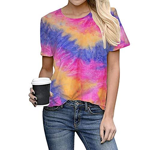WANLN Damen Kurzarm Abbindebatik Print-Spitze Shirt-Sommer-Beiläufige Lose Oberseiten-Rundhalsausschnitt Bluse,Rainbow Purple,S