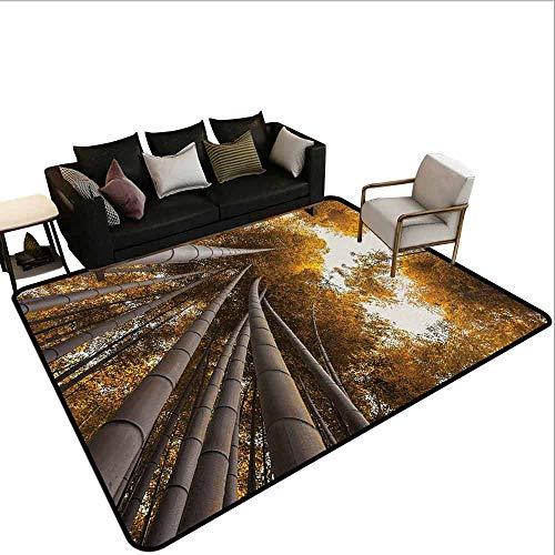 MsShe Tapijt liner voor tapijt Bamboe, Onderste naar Top Bamboe Grove Fall Landscape Potentieel voor Verbetering Symbool Print,Geel Bruin