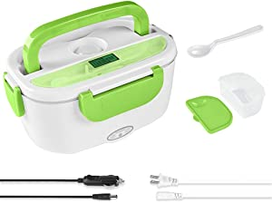 Electric Lunch Box -- Toursion Portable Food Heater 2 in 1 for Car/Truck and Work 110V&12V-24V 40W, Removable Stainless Steel Portable Food Warmer 1.5L, Spoon and 2 Compartments Included (Green)