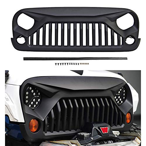 Front Matte Grill for J-eep Wrangler JK/JKU 07-18 Front Kühlergrill, Including Rubicon, Sahara and Sport,2/4Door