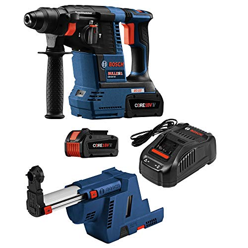 Bosch GBH18V-26K24GDE-RT 18V Lithium-Ion Brushless 1 in. Cordless Rotary Hammer Kit with Dust Collection Attachment (6.3 Ah) (Renewed)