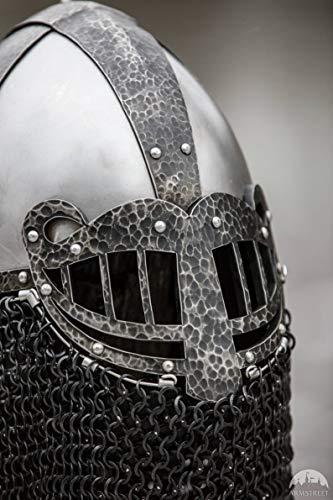 Sre gallery SCA Combat Helmet with Etched Patterns; Viking Style Helmet; Viking Armor