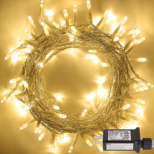 DASDIGUO 100LED 32.8ft Christmas String Lights 8 Modes String Lights for Bedroom, Patio, Garden, Wedding, Party, Wall, Indoor Outdoor, Valentines Decoration, Plug in(Warm White)