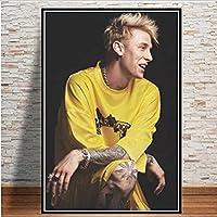 MKAN マシンガンケリーラッパーヒップホップ音楽歌手ポスターとプリント、家の装飾のためのアートウォール写真45X60Cm絵画