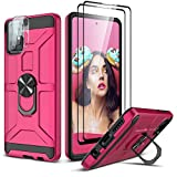 Zectoo Samsung Galaxy A71 4G Case 6.7' with Tempered Glass Screen Protector (2 Packs), [Military-Grade] Defender Protective Phone Case with Car Ring Holder Kickstand for Samsung A71, Rose