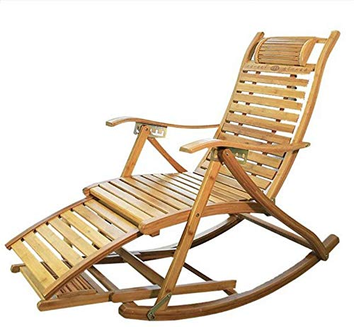 TUHFG Liegestuhl Campingstühle Garten Liegestühle Klappstuhl Bambus Liegestuhl Klappstuhl - Balkon Home Lounge Chair, verstellbare Rückenlehne Ältere Stuhl, tragbare Außensonnenlieger (Color : A)
