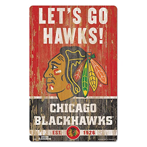 Wincraft NHL Schild aus Holz Chicago Blackhawks Slogan Holzschild Wood Shield